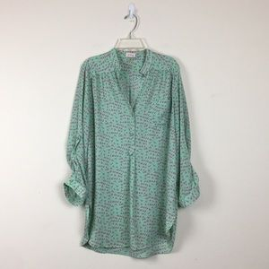 Pixley Green Teal Bird Print Blouse Sz L